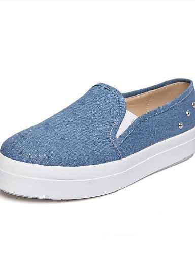 ShangYi gyht Scarpe Donna - Mocassini - Casual - Creepers - Plateau - Denim - Nero / Blu Light Blue