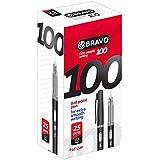 علبة أقلام برافو 100 من ساسكو - عدد 25 قلم - أسود
