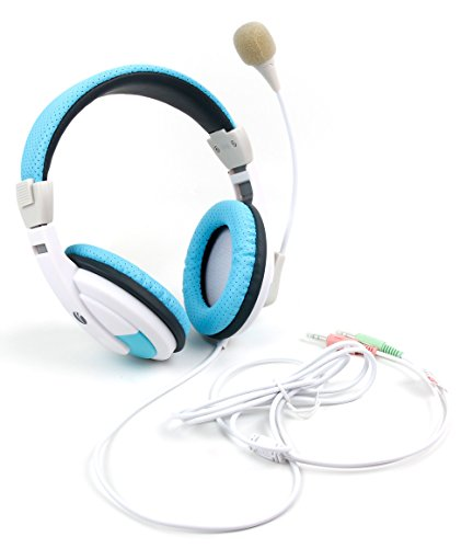 DURAGADGET PC Stereo Headset Weiß-Blau für Xiaomi Mi Pad 4 Plus - Friday Ps3 Black