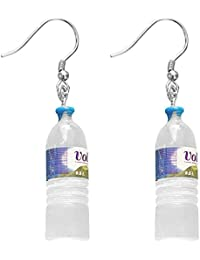 Pendientes Creativa linda botella de agua mineral S925 pendientes de plata estudiantes exagerados pendientes damas