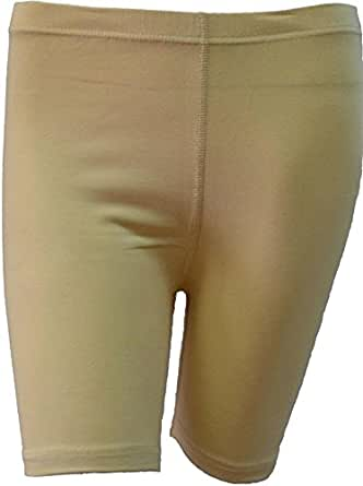Womens Plus Size Cycling Shorts Over Knee Length Hot Pants Legging Tights (16/18, Beige)