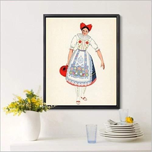 DOLOJO Digitale Malerei Ethnischen Kostüm Wohnzimmer Schlafzimmer DIY Dekoration 50X60 cm D (Moderne Ethnischen Kostüm)