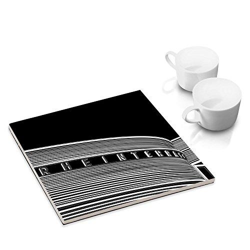 Keramik-Untersetzer mit Filzuntersatz für Esstisch und Küche - 15 x 15 cm - mit Stadtgrafik-Motiv: Düsseldorf, Rheinterrasse