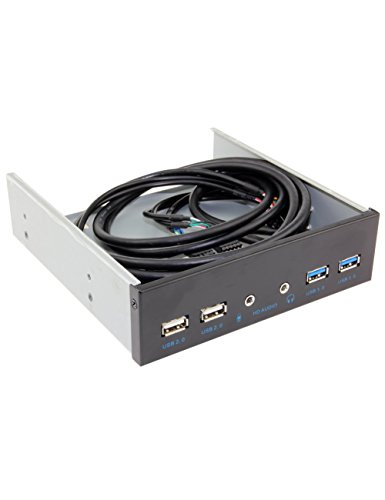UCEC 5,25 Zoll Metall Frontpanel USB-Hub, mit 2 USB 3.0 Ports & 2 USB 2.0 Ports &1HD Audio Port. - Audio-panel