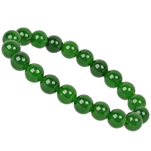 PowerBead Pulsera de Perlas de Piedras Preciosas, 10 mm, Jade de Nephrit, para Hombre y Mujer
