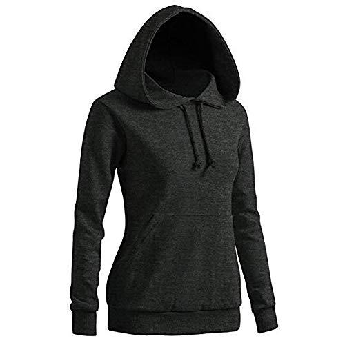 JUTOO Damen Solides Sweatshirt Langarm-Bluse Mit Kapuze Tasche Pullover Tops Shirt(Dunkelgrau,Medium)