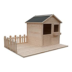 cadema gartenh uschen f r kinder holz kinderspielhaus 2 4 x 1 6m garten. Black Bedroom Furniture Sets. Home Design Ideas
