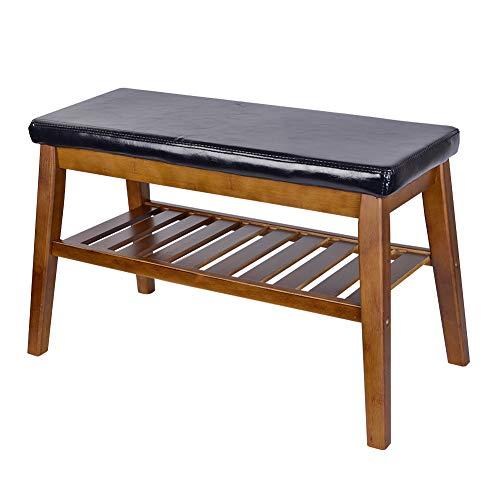 SchuhBank NNEWVANTE Freistehende Bambus Schuh Organisieren Sitz Schrank Schlafzimmer Küche Eintrag-65CM schwarz