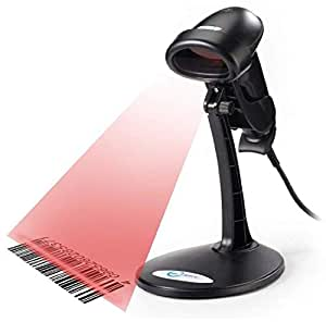 USB Automatic Barcode Scanner Scanning Barcode Bar-code Reader with Hands Free Adjustable Stand (Black)