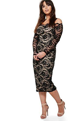 Damen Schwarz Plus Lottie Lace Open Shoulder Midi Dress Schwarz