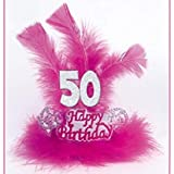 TIARA con Marabù e Piume 50 ANNI - Accessori Festa 50° Compleanno