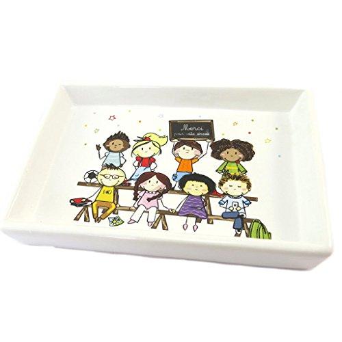 Les Trésors De Lily P1780 - Vide-poches céramique 'Merci pour cette année' (Maître/Maîtresse) - 15.5x10.5x2.5 cm