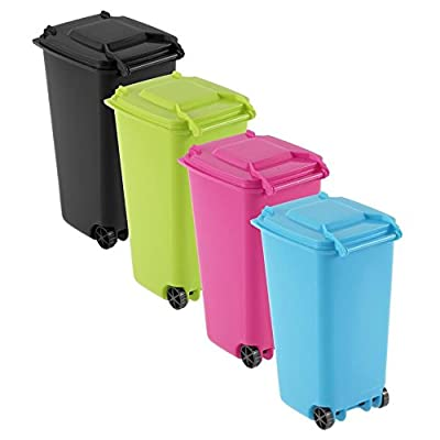 Generic Bluee?: 1pcs Mini poubelle à roulettes Organiseur de bureau Bureau Organiseur de bureau papeterie Pen Pot à crayons 4couleurs Drop Shipping