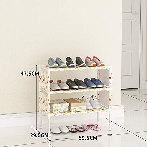 Qinqin666 Extendable & Stackableshoe Rack, Quick Assembly No Tools Required Red Yellow Maple Leaf 47.5x59.5x29.5cm