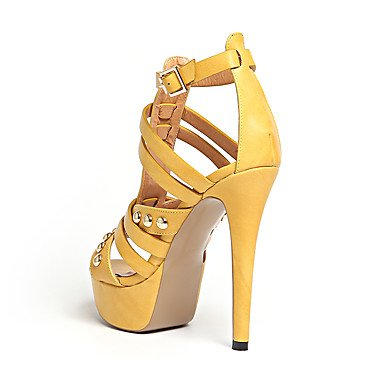 Enochx sandali da donna estate Club scarpe Gladiator Leatherette Office & carriera party & sera Abito casual tacco a spillo rivetto fibbia Beige
