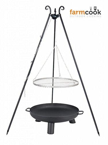 FARMCOOK Schwenkgrill Viking Dreibein mit Grillrost aus Edelstahl mit Feuerschale PAN37 in 4 Größen (Rost Ø 80 cm; Feuerschale Ø 80 cm)