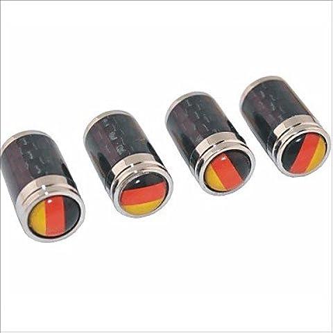 ZQQ in fibra di carbonio fai da te bandiera tedesca di scolpitura universale cappucci delle valvole d'aria - nero (4 pezzi) - Valvola In Fibra Di Carbonio