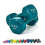 ProMic 1lb di 9mano sollevamento pesi Deluxe rivestito in vinile manubri allenamento aerobico Fitness, Set di 2, Dark Green 5kg, 2 x 5 kg