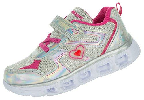 Beppi Kinderschuhe Leuchtend Sportschuhe | Mädchenschuhe Glitzer LED Schuhe bequem | Blinkschuhe Sport Sneaker Turnschuhe Silber | 26