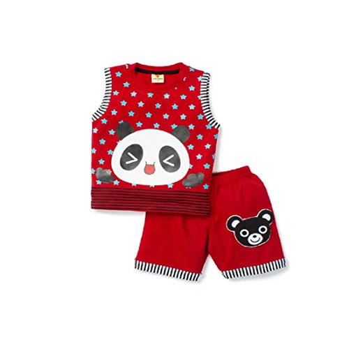 Born Wear Panda Applique T-shirt And Pant Combo Sets For Boys