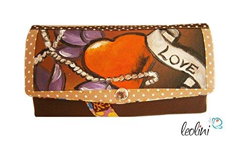 Portemonnaie Geldbeutel Brieftasche Geldbörse Tatto Herz - handmade, Unikat von Leolini (Brieftasche Gestickte)