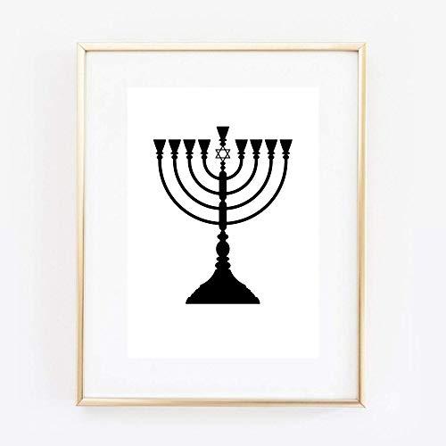 Din A4 Kunstdruck ungerahmt Judentum Jüdisch Menora Davidstern Religion Grafik Druck Poster Bild