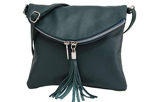 AMBRA Moda Italienische Ledertasche Schultertasche Crossover Umhängetasche Nappaleder Damen Kleine Tasche NL610 (Petrol) -