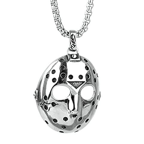 Epinki Fashion Jewelry Stainless Steel Men Black Friday Mask Pendant Necklace Silver