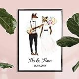 Personalisiertes Bild Fuchs Hochzeit mit oder ohne Rahmen | Geschenkidee zur Hochzeit | Geschenke für Paare | Personalisierte Hochzeitsgeschenke | Individualisiert mit Namen und Datum