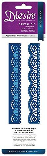 Die 'sire classiques-ribbon Einfädeln dies-elegance, Metall, silber, 29,5x 9,8x 0,02cm (Home Elegance 3 Stück)