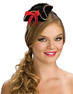 Rubies- Mini sombrero bucanero, Color negro, Talla única (Rubie