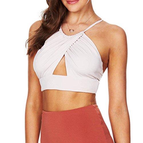 QIYUN.Z Femmes Sexy Reservoir Veste Backless Culture En Tete Lacets Licol Sans Manches Mini-Blouse Blanc