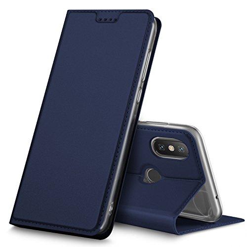 Geemai Xiaomi Mi Mix 2s Funda, Slim Case Protectora PU Funda Multi-ángulo a Prueba de Golpes y Polvo a Prueba de Silicona con Soporte Plegable para Xiaomi Mi Mix 2s.(Azul)