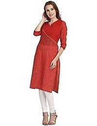 Indi Dori Cotton Bandaze Print V Neck Red Jaipuri Kurti - Red