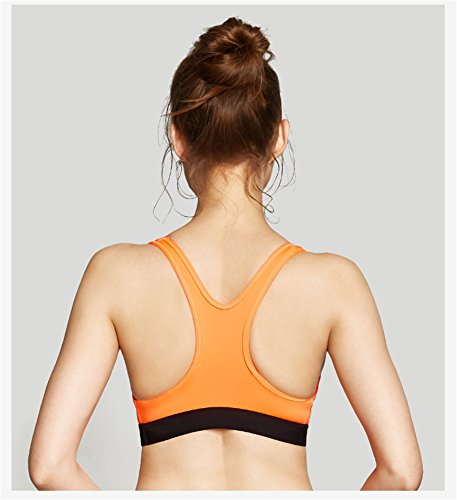 YeeHoo Women's Shockproof Removable Cups Full-Support Fitness sports Bra arancia