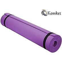 Fitness y Yoga Kemket esterilla antideslizante 10 y 15 mm de alta densidad estera de ejercicio anti-rotura con correa de transporte Morado morado Talla:10 mm