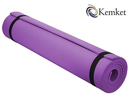 Esterilla Kemket antideslizante para ejercicios, fitness o yoga, 10 y 15 mm de alta densidad, antirroturas, con correa de transporte, color morado, tamaño 15 mm, 0.88, 23.62 x 7.09 x 7.09inches