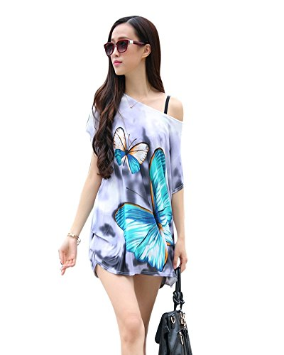 SaiDeng Femme Multicolore Impression Confortable Manches Courtes T-Shirt Casual Robe Image 15