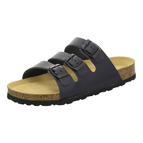 AFS-Schuhe 3133, Pantolette Unisex Damen und Herren, Bequeme Hausschuhe, sportliche Arbeitsschuhe. Made in Germany Größe 43 EU Blau (Navy)
