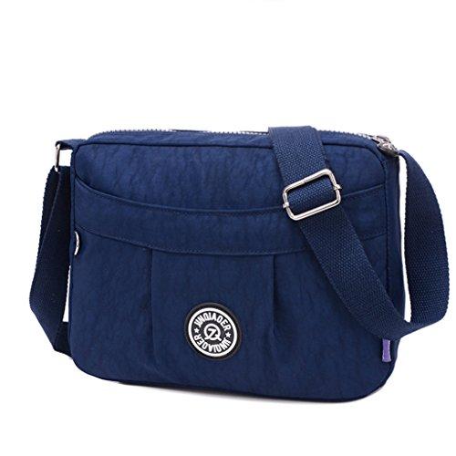 TianHengYi Small Water Resistant Women's Cross-body Shoulder Bag Lightweight Nylon Fabric Messenger Bag Navy Blue