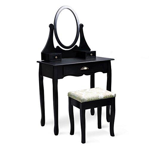 LANGRIA Tocador Mesa Maquillaje con Espejo Ovalado Ajustable Giratorio de 360 Grados, 3 Cajones y Taburete Acolchado Tapizado Jacquard Estilo Romántico, 80 x 40 x 147cm (Negro)