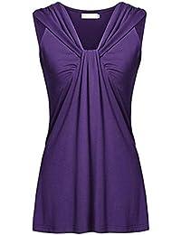 KIMODO T Shirt Damen Sommer Bluse Damen Top ärmellos Reine Farbe Lose Freizeithemd  Blusen Große Größe Schwarz Grün Violett… 2e5df96084