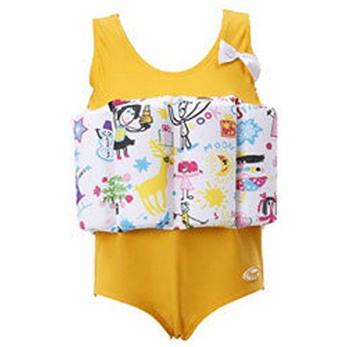 ARAUS-Bébé Flottabilité Maillot de Bain Bouée Gilet de Sauvetage Flotteur Combinaison Flottante pour Fille One Piece Swimsuit 1-10 ans (2-3 ans, jaune)