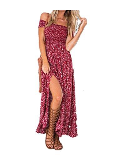 Robe Longue - Imprime Floral - Fentes Laterales - Epaule Denudee - Femme -Koobea Rouge