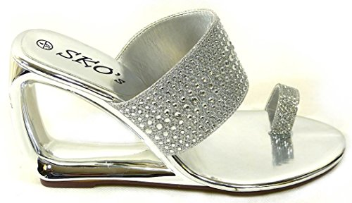 Femme Strass Mesdames Faible Wedge Sandales Mules orteil Post Chaussures à enfiler Taille 345678 Silver (m336-1)