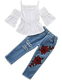 365fcf125bfd23 SCFEL Toddler Baby Girls Pizzo off Spalla Cinghia Top Fiore Strappato Jeans  Set di Vestiti