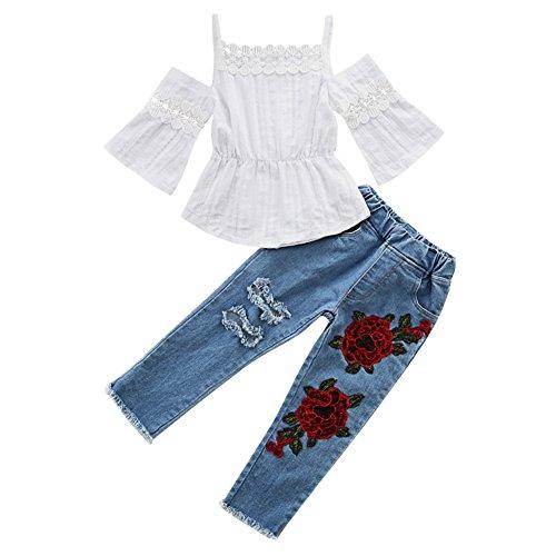 Scfel toddler baby girls pizzo off spalla cinghia top fiore strappato jeans set di vestiti (bianco, 5-6 anni)