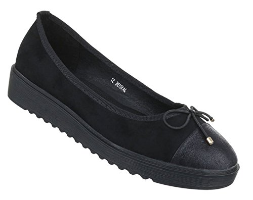 Damen Ballerinas Schuhe Loafers Slipper Slip-on Flats Pumps Schwarz Grau Weinrot 36 37 38 39 40 41 Schwarz