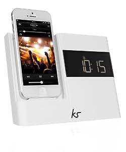 KitSound XDOCK 2 Radio Réveil avec Station d'Accueil et Connecteur Lightning pour iPhone 5/iPhone SE/iPod Nano 7/iPod Touch 5 - Livré avec Prise EU – Blanc