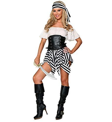 LOBTY Damen Piratin Kostüm,für Piratin Fluch der Karibik Kostüm Seeräuber ,Damen Karneval Kostüm Fasching - Piraten Der Karibik Kostüm Für Damen